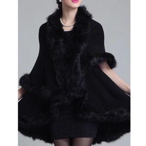 Luxurious Faux Fur Double Layer Black Cape Coat